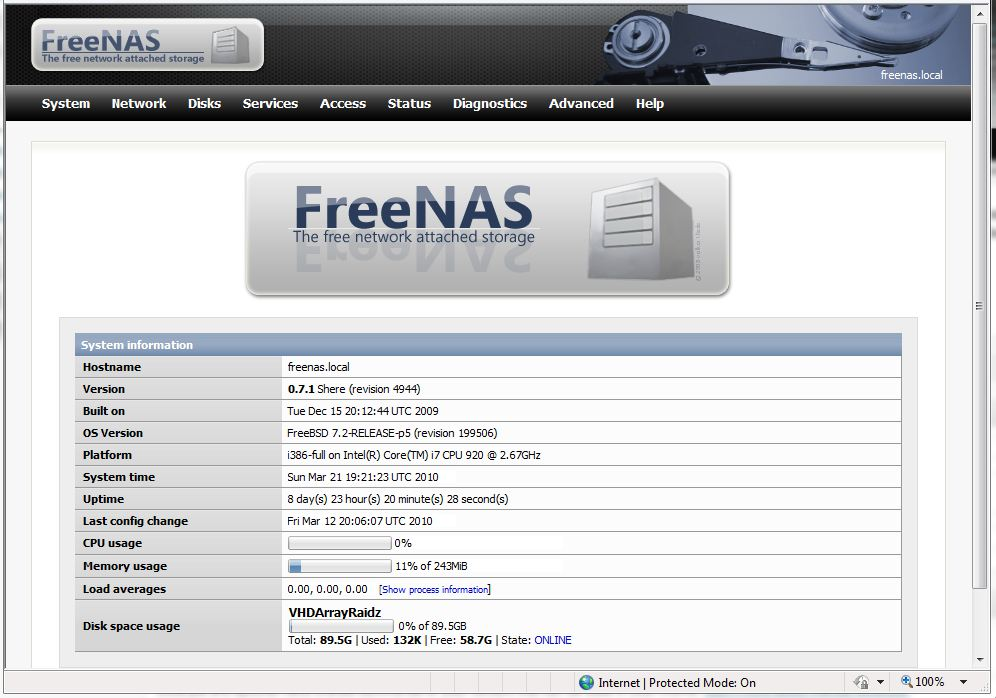 FreeNAS under Hyper-V Home Screen