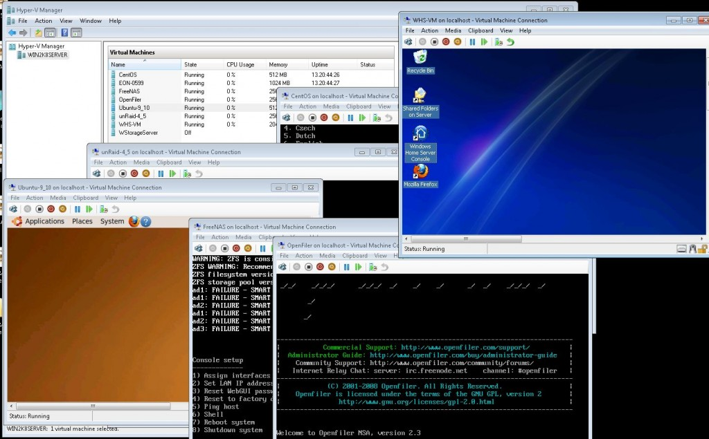 Hyper-V, WHS, Windows Server 2008 R2, CentOS, unRaid, Openfiler, Ubuntu, FreeNAS, EON on one machine