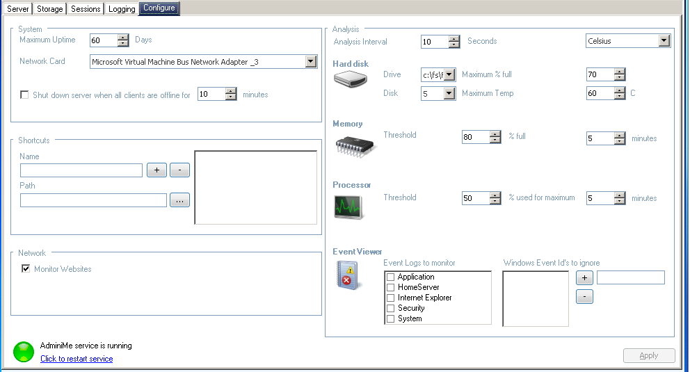 AdminiMe - Configure Tab - Configuration of the add-in