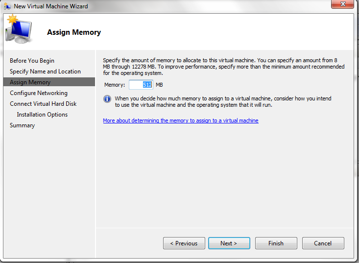 Hyper-V - Specify the Hyper-V VM's Memory Allocation