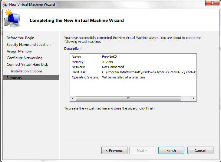 Hyper-V - Finish Wizard