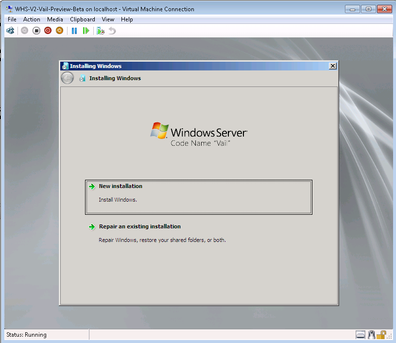 Vail Preview Hyper-V Installation Screen 1