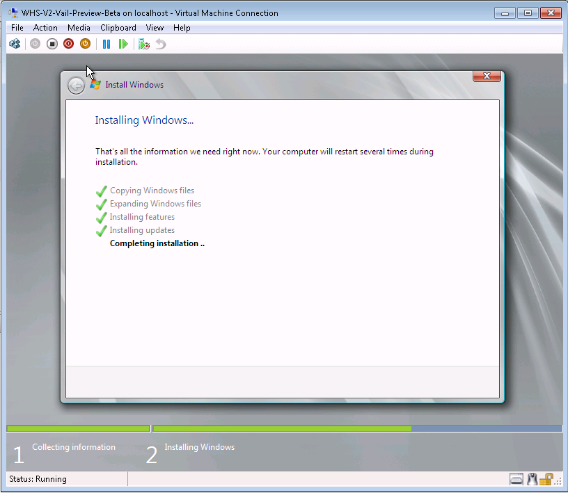 Vail Preview Hyper-V Easy Installation on a VHD Complete