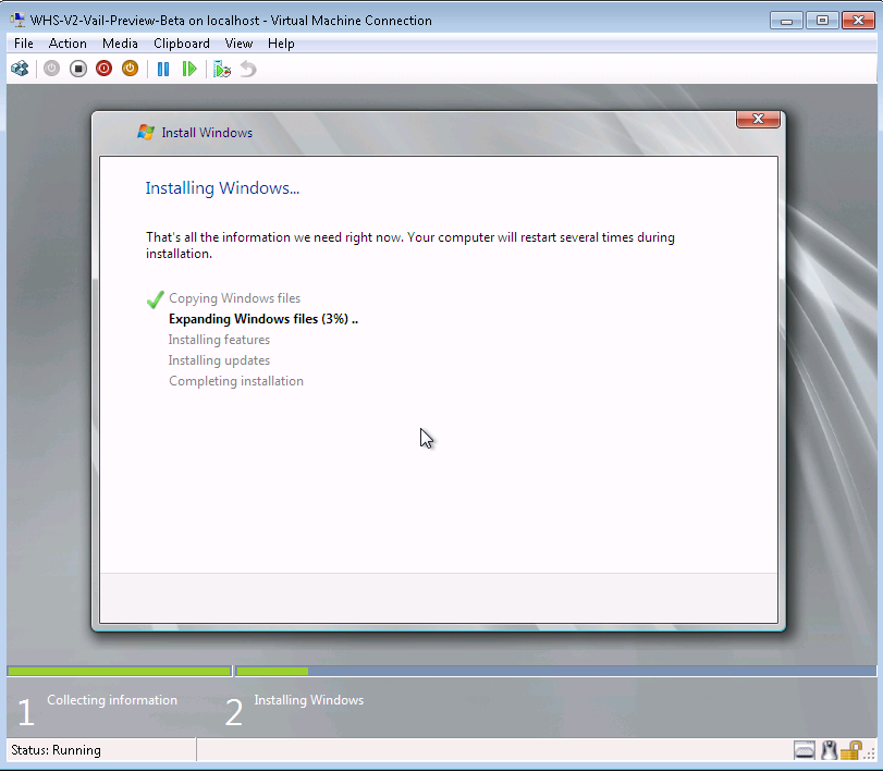 Vail Preview on Hyper-V Installing on VHD Working