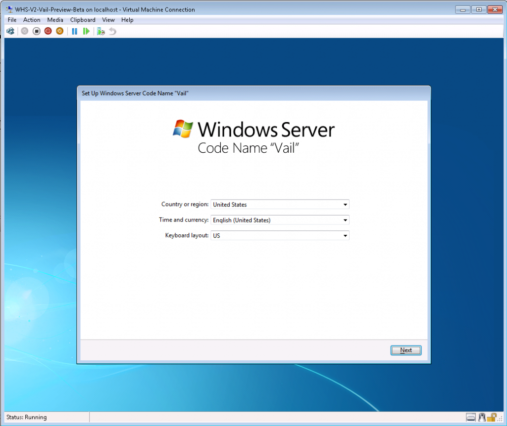 Vail Preview on Hyper-V Begin Setup