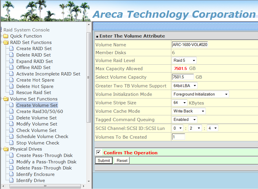 Windows Home Server V2 VAIL Create Large Raid Volume on Areca