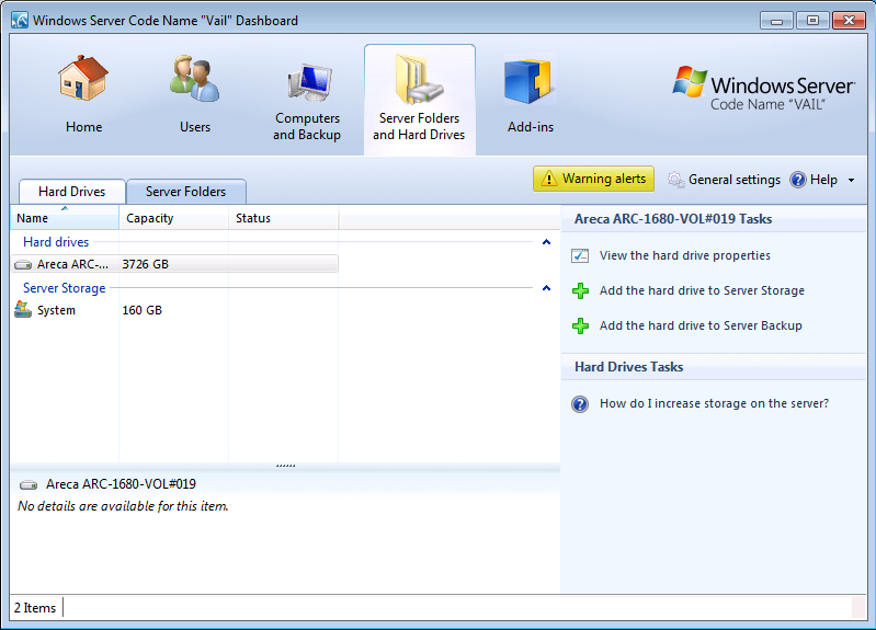 Windows Home Server V2 VAIL Dashboard with Large GPT Volumes