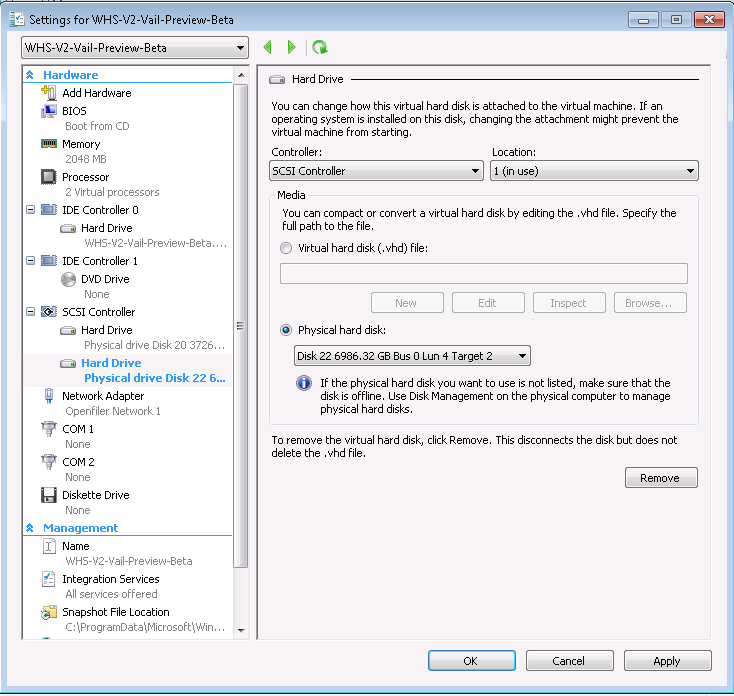Windows Home Server V2 VAIL Selecting the Raid Disk for a Hyper-V VM