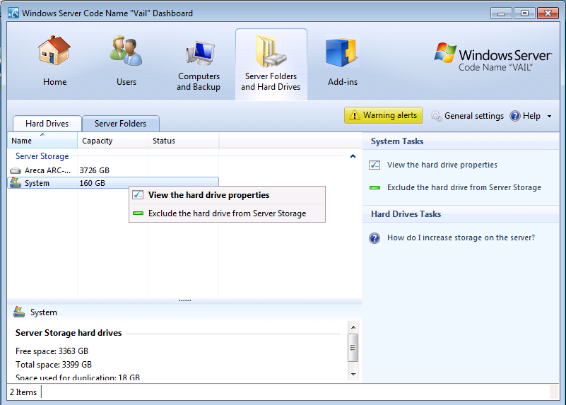 Windows Home Server v2 Vail How to Exclude System Disk from Server Storage