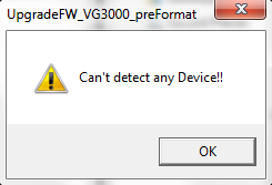 Error if you do not run the firmware update tool as adminstrator