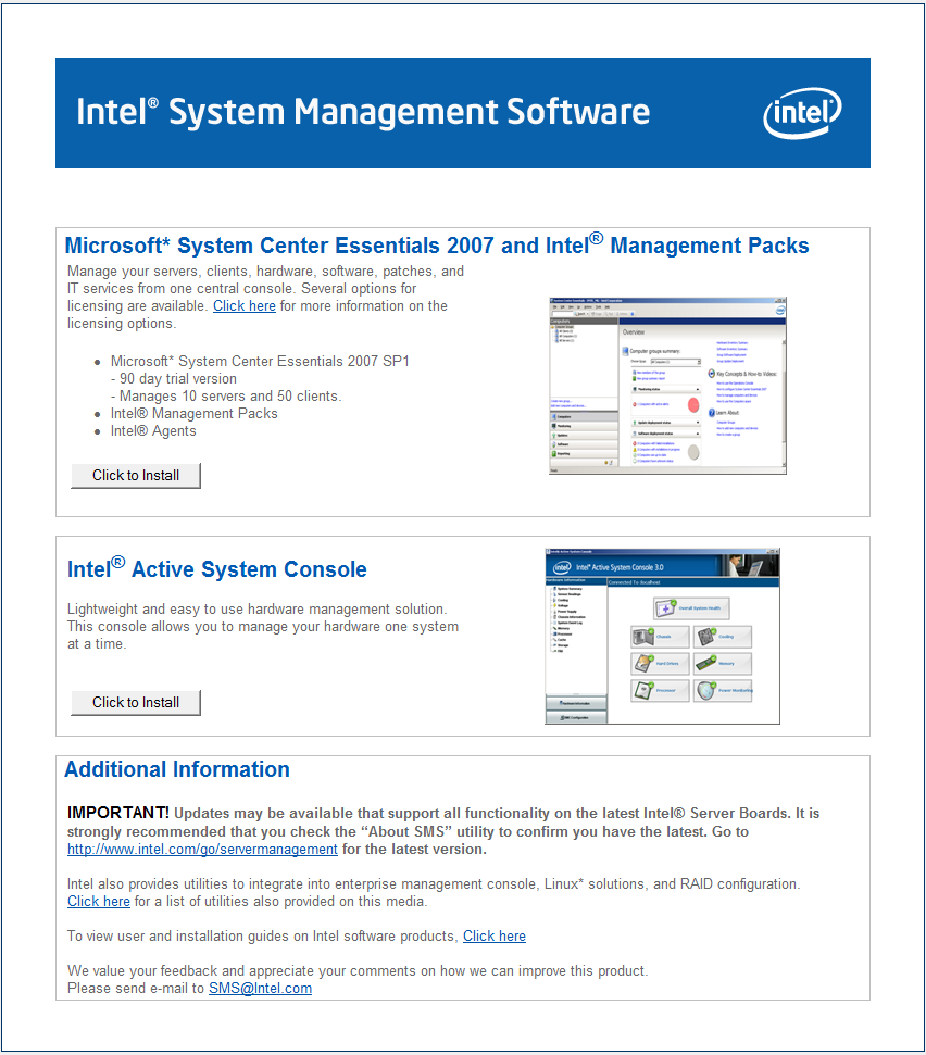 Bundled Microsoft System Center Essentials 2007 evaluation with Intel Management packs and Intel Active System Console