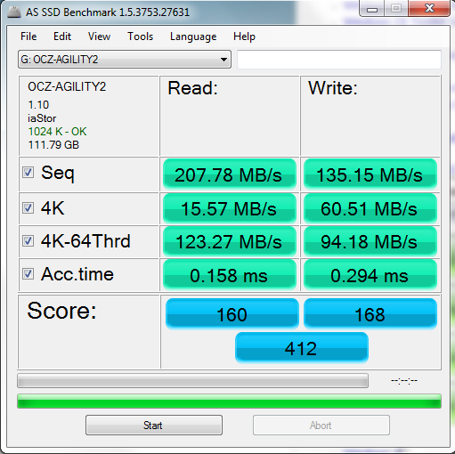 OCZ Agility 2 120GB AS SSD Benchmark Results