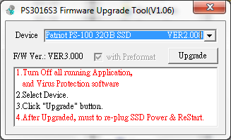 PS-100 Upgrade tool for firmware v3.000