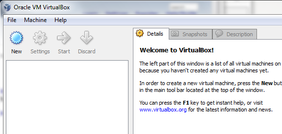 Oracle VirtualBox Welcome Screen