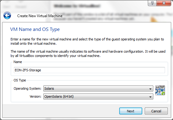 Virtual Box - New Virtual Machine Wizard - Name and Select