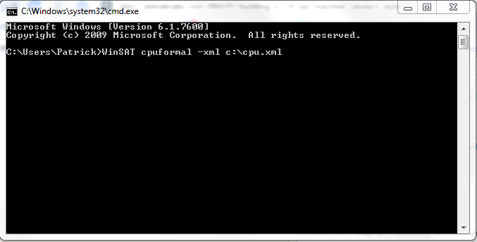 Starting WinSAT from the Command Line with XML output