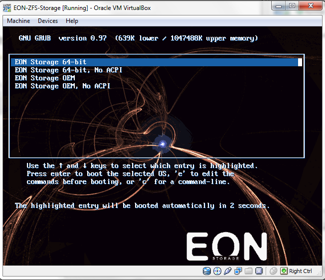 EON In Virtualbox