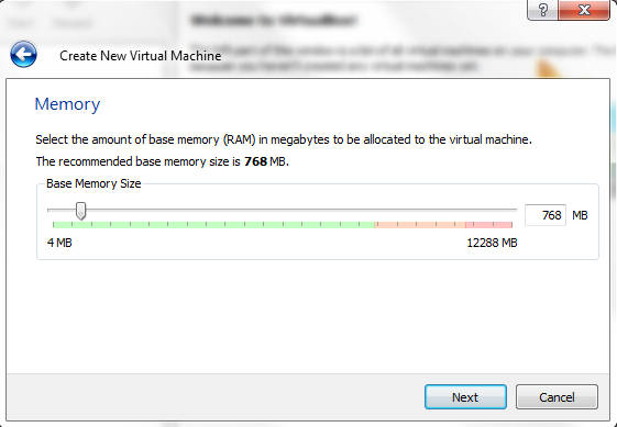 VirtualBox - New Virtual Machine Wizard - Memory Allocation