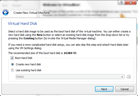 VirtualBox - New Virtual Machine Wizard - New Virtual Hard Disk
