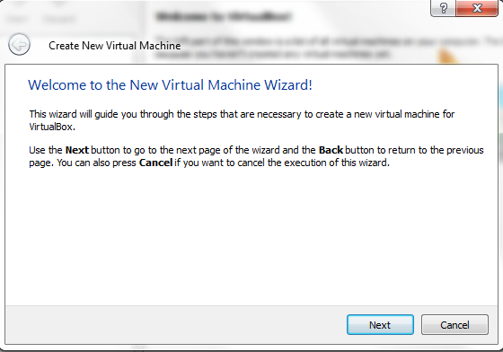 Virtual Box - New Virtual Machine Wizard