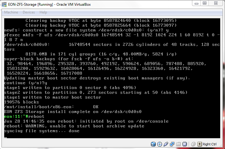 Virtual Box - Virtual Machine - EON ZFS Storage - reboot