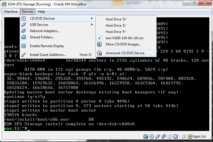 Virtual Box - Virtual Machine - EON ZFS Storage - unmount CD