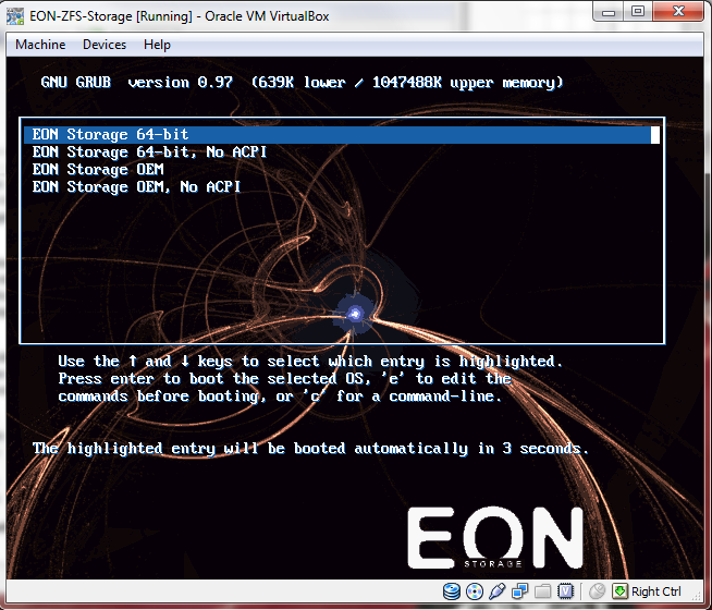 Virtual Box - Virtual Machine - EON ZFS Storage up and running