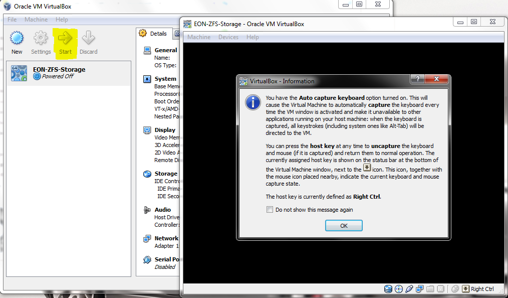 VirtualBox - Virtual Machine - Start and Keyboard Warning