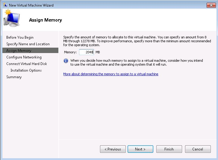 Windows 7 Throw Away VM Assign 2GB Memory
