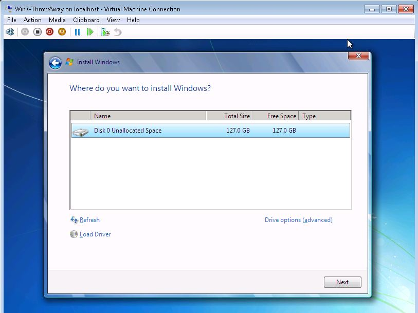 Windows 7 Throw Away VM Install to Dynamic VHD