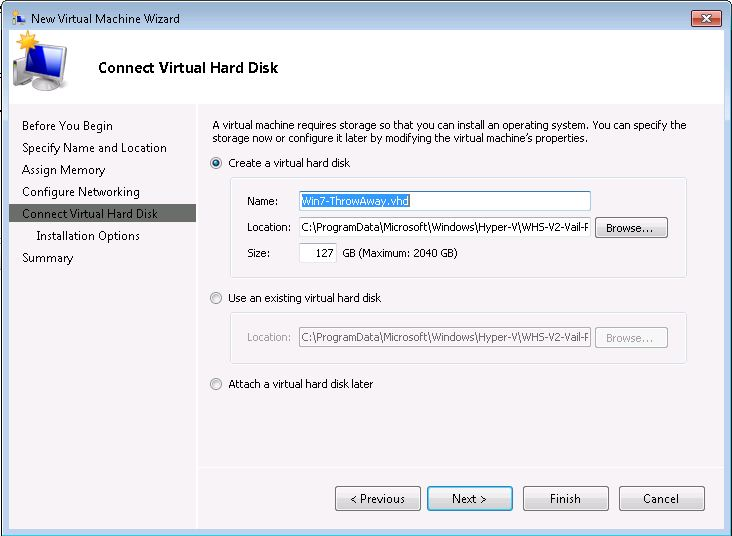 Windows 7 Throw Away VM New Virtual Hard Disk