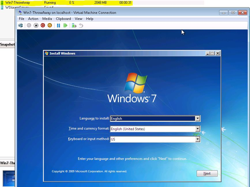 Windows 7 Throw Away VM Win 7 Installation and Setup