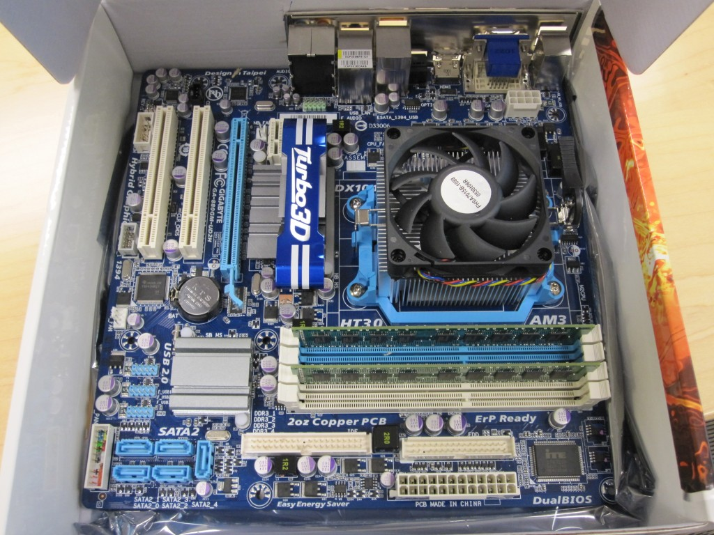 AMD Athlon II X4 640, Gigabyte GA-880GM-UD2H, 4GB Kingston Unbuffered DDR3 ECC
