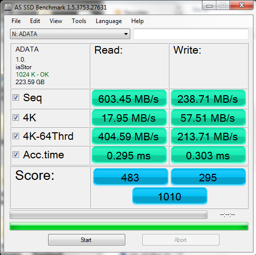 4x ADATA S599 64GB RAID 0 ICH10R AS SSD