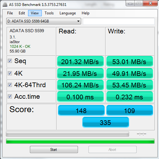 ADATA S599 64GB AS SSD Benchmark
