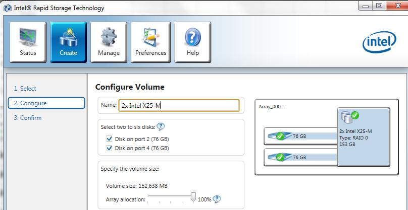 ICH10R RAID 0 2x Intel X25-M G2 80GB Setup