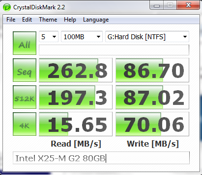 Intel X25-M G2 80GB CrystalDiskMark Benchmark