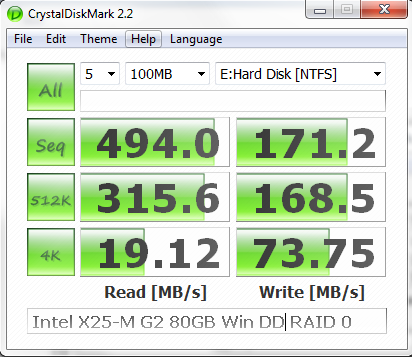 Windows Dynamic Disk RAID 0 2x Intel X25-M G2 80GB CrystalDiskMark Benchmark