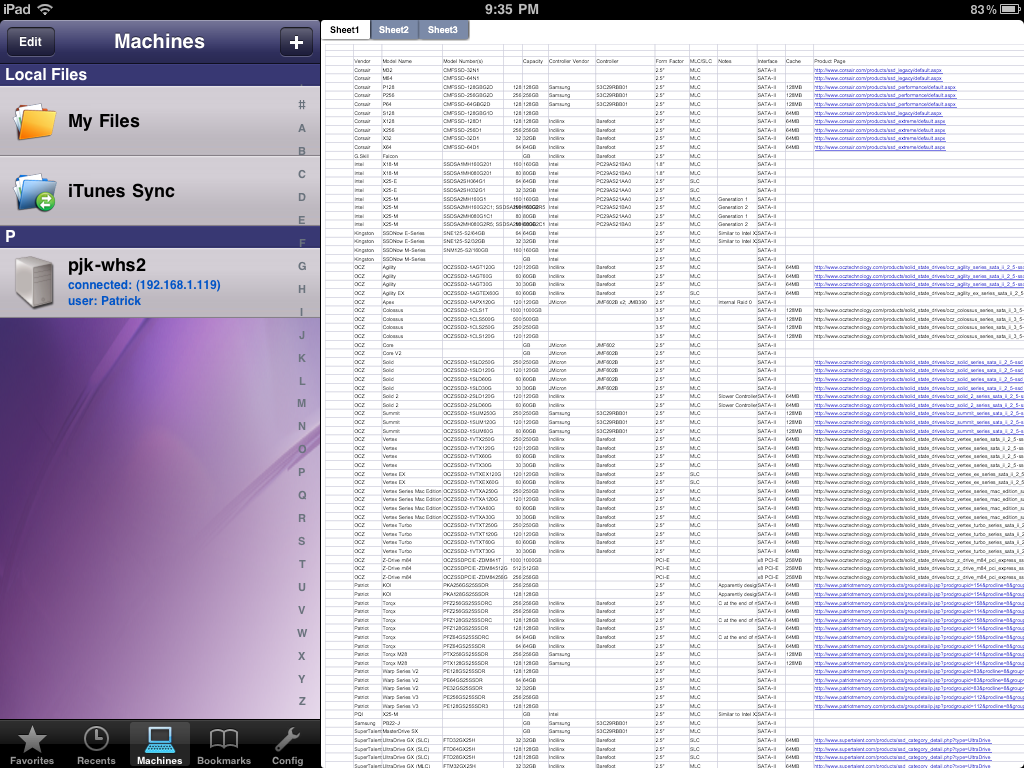 FileBrowser iPad NAS View Excel Files