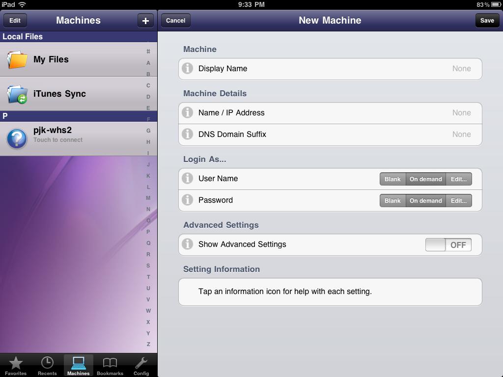 FileBrowser iPad NAS Connection Setup Screen