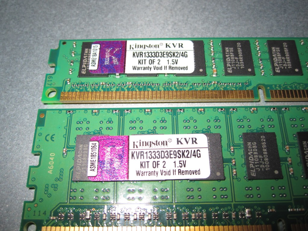 Kingston KVR133D3E9SK2 4G Low Profile versus full height Same Model Number and ELPIDA