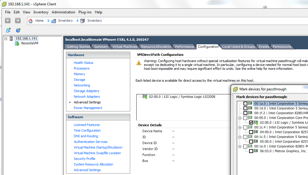 VMWare Configuration Tab - Advanced Settings for VMDirectPath