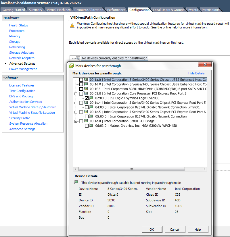 VMWare Set LSI 9211-8i to passthrough