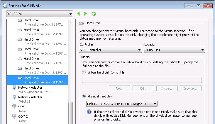 Add Offline Disk to Hyper-V VM
