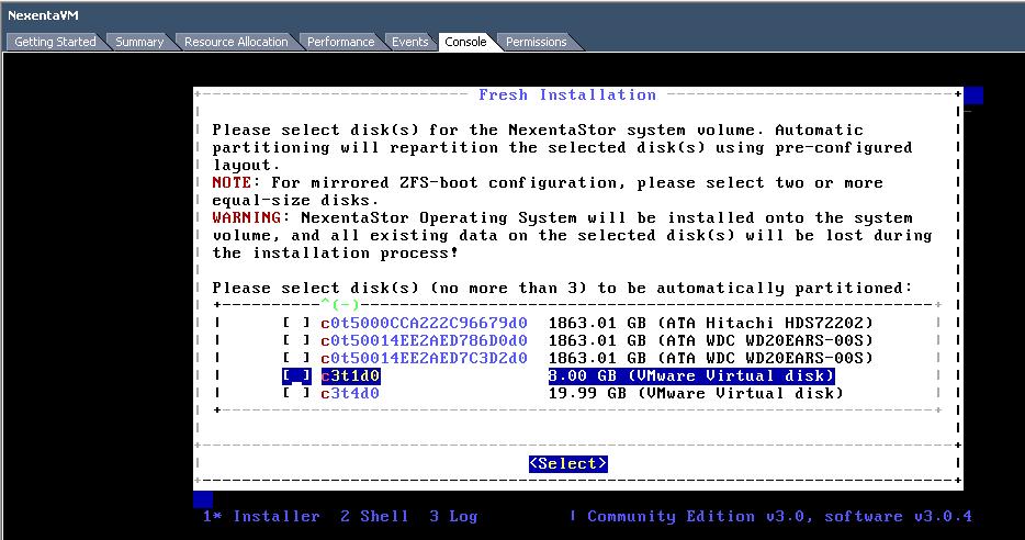 Install NexentaStor Select Installation Disk