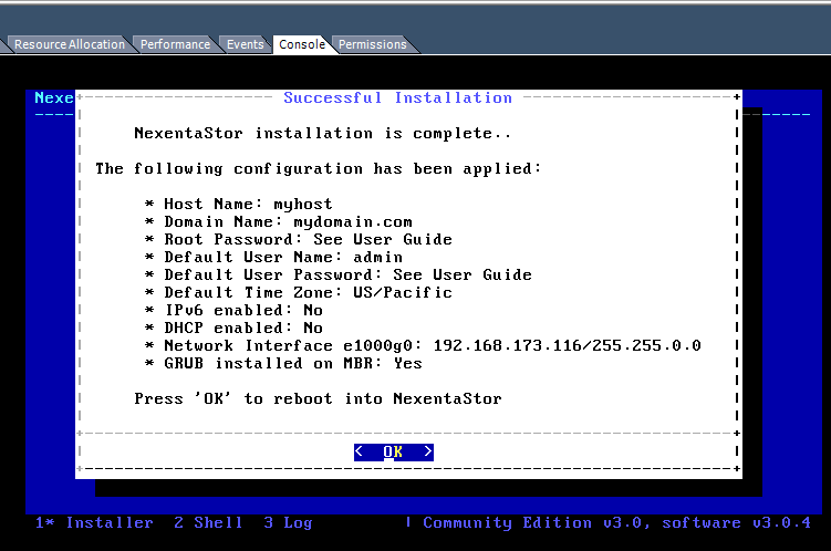 Install NexentaStor Successful Installation