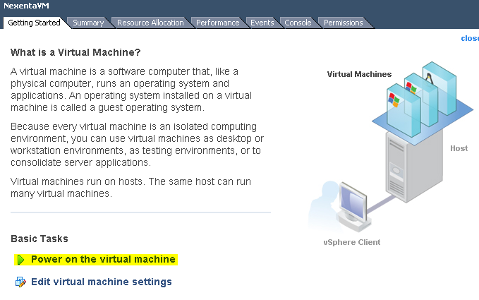 Power On Virtual Machine from vSphere