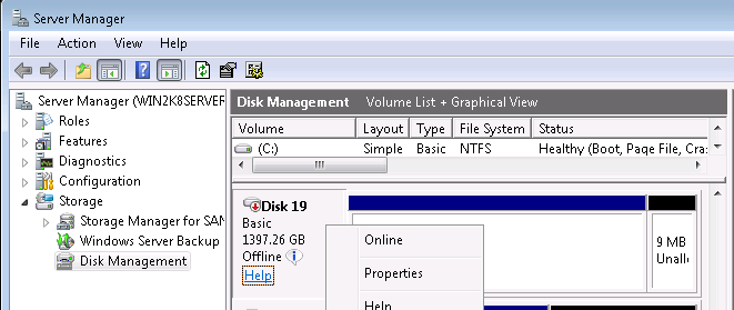 Set Disk to offline mode in Disk Management