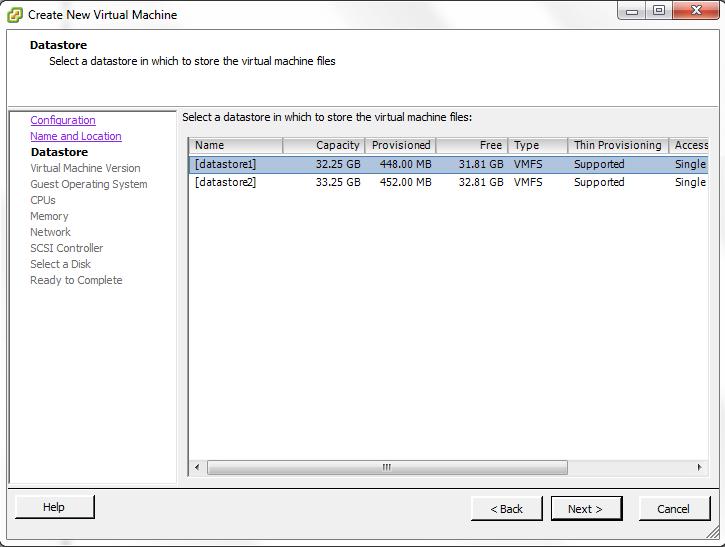 VMWare Select VM Datastore