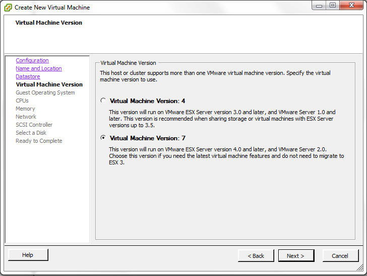 VMWare Version 7 VM